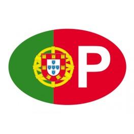 Stickers P pour auto aux couleurs portugaise